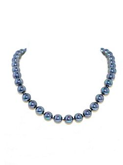 10mm Petrol Pearl & Rhodium Necklace