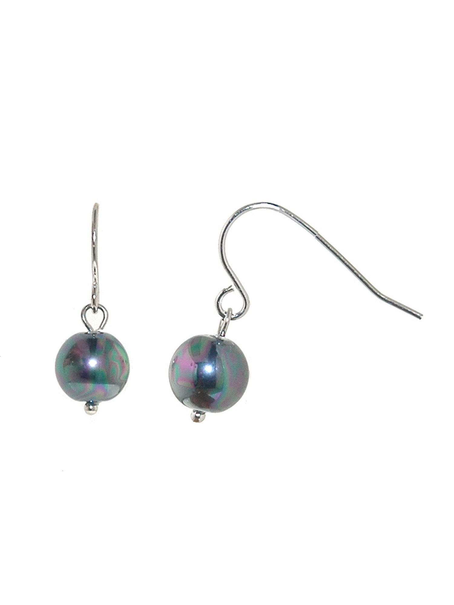 lilli and koe 8mm petrol pearl rhodium hook earrings