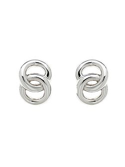Rhodium double ring earrings