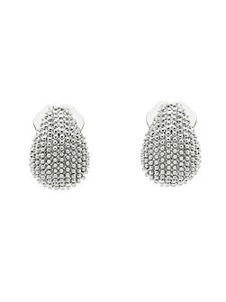Rhodium texture mini clip earrings