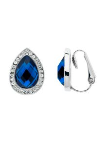Monet Silver Sapphire Teardrop Clip Earrings