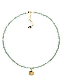 Jade Gold Lotus Flower Disc Necklace