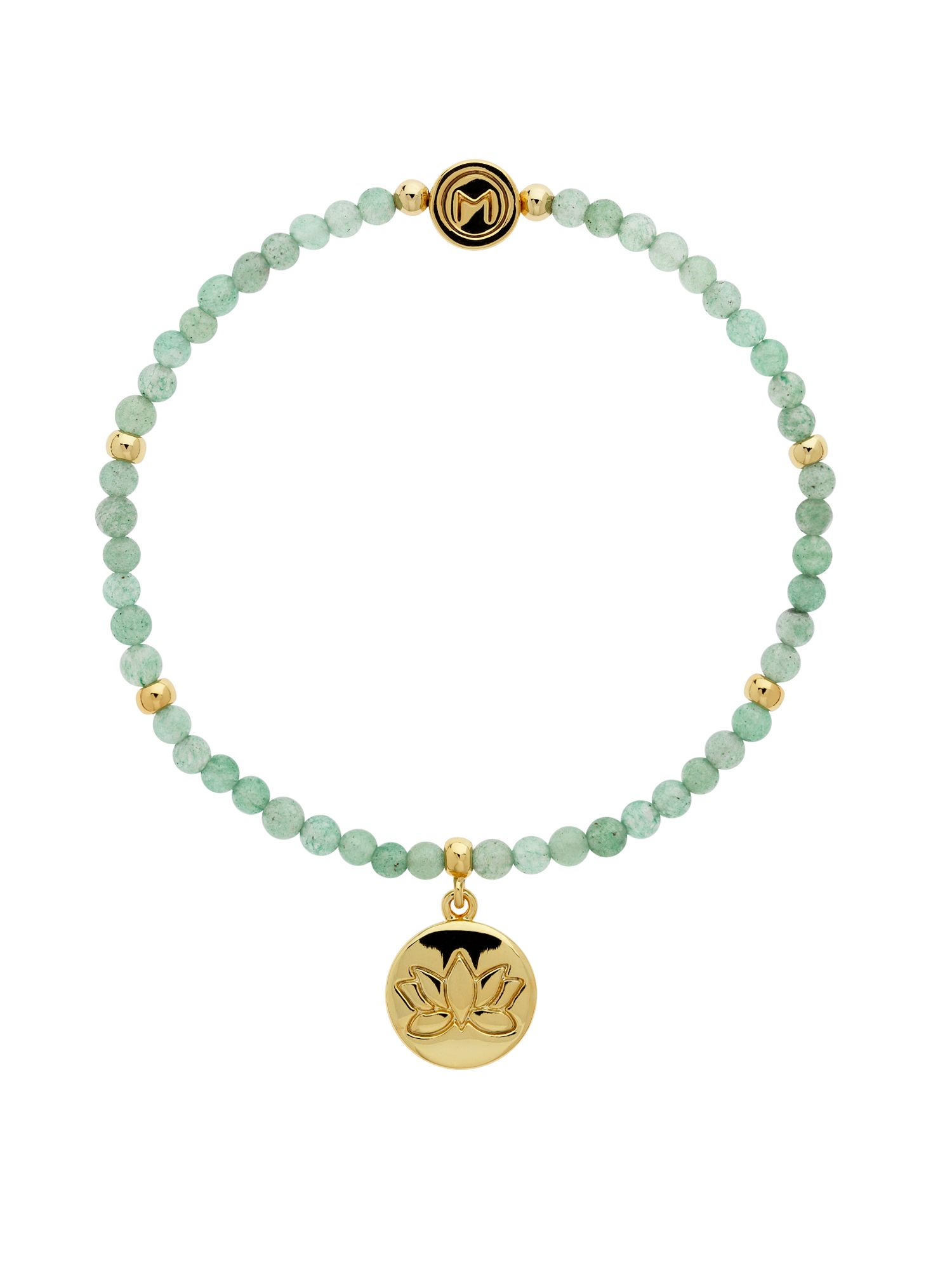 Melissa Odabash Jade Gold Lotus Flower Disc Bracelet Green