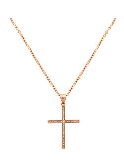Rose Gold Crystal Cross Necklace