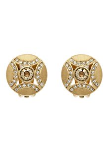 Lilli & Koe Gold crystal shield clip earrings
