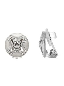 Lilli & Koe Rhodium crystal shield clip earrings