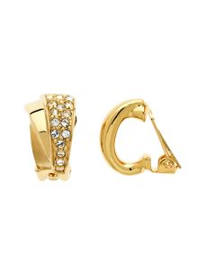 Lilli & Koe Gold crystal double fan clip earrings