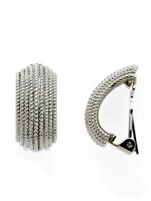 Lilli & Koe Rhodium bobbled texture clip earrings