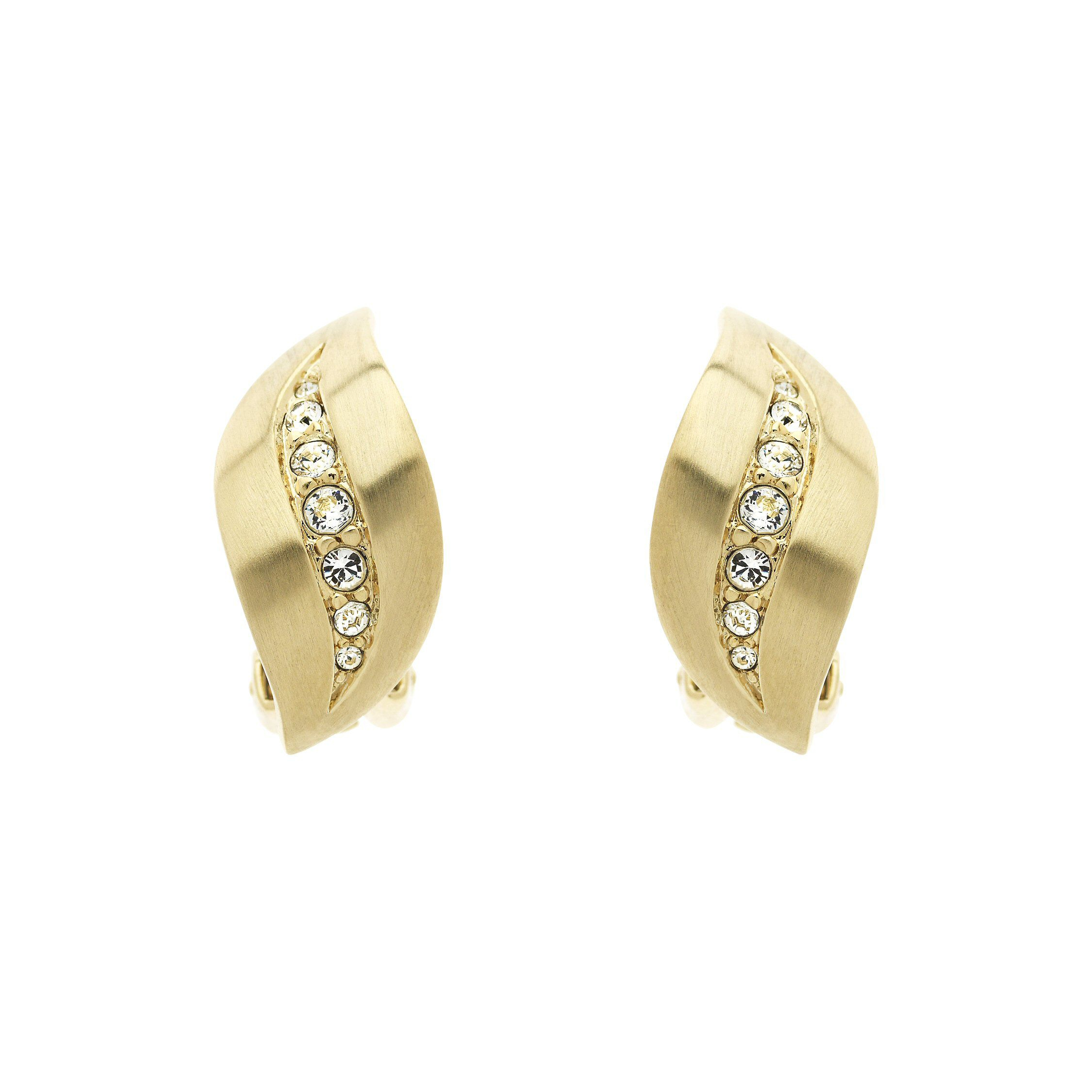 Lilli & Koe Gold Crystal Wave Clip Earrings, Gold