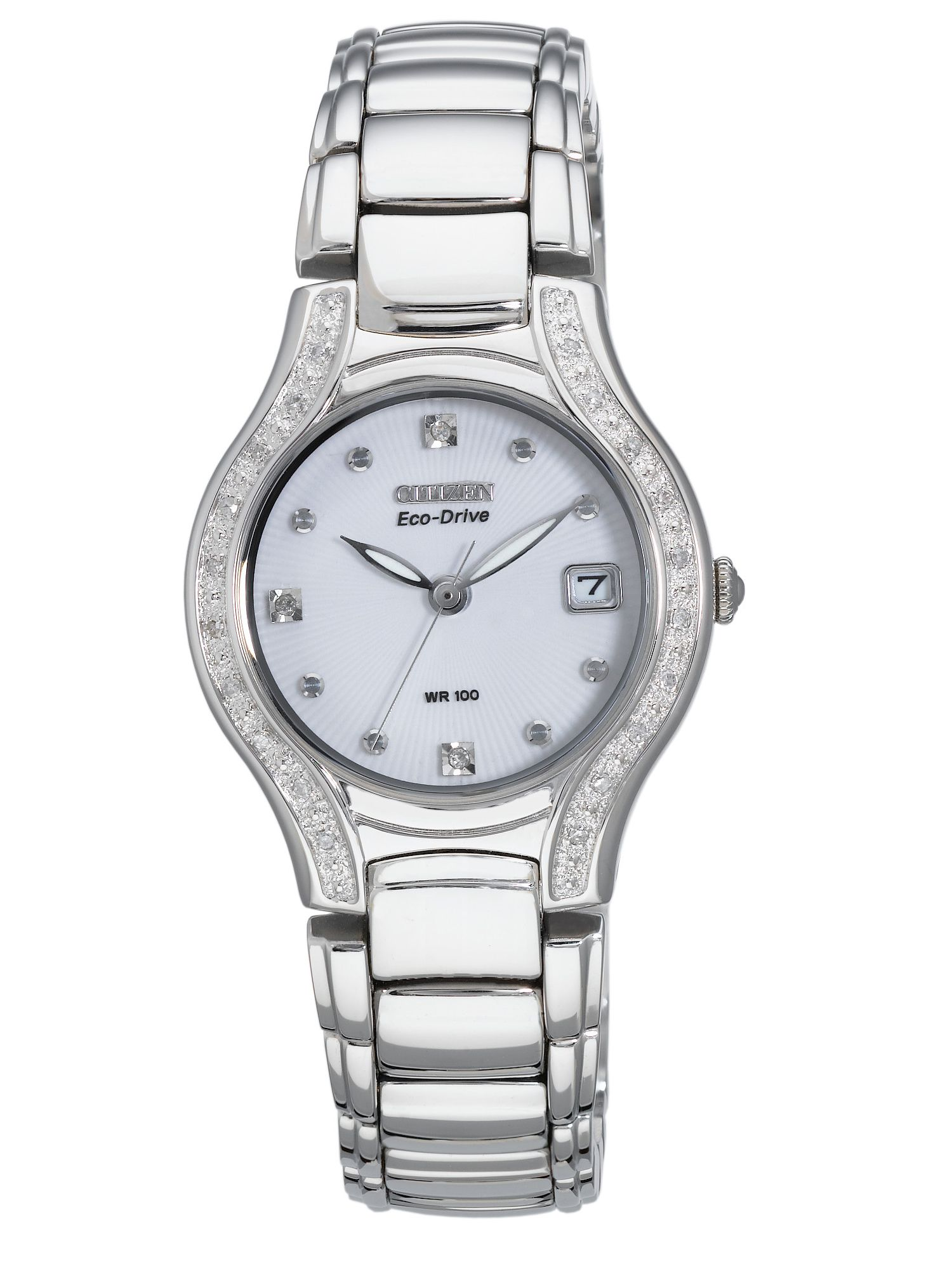 Eco-drive modeba 23 diamonds silver ladies watch