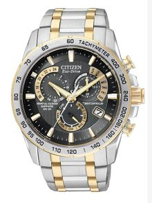 Eco-drive world time at two tone mens watch