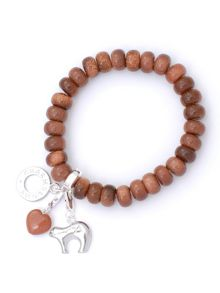 Wealth Goldstone Bead Charm Bracelet