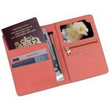 Coral Travel Wallet with Small Pen