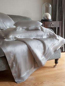 Silver grey silk double duvet cover