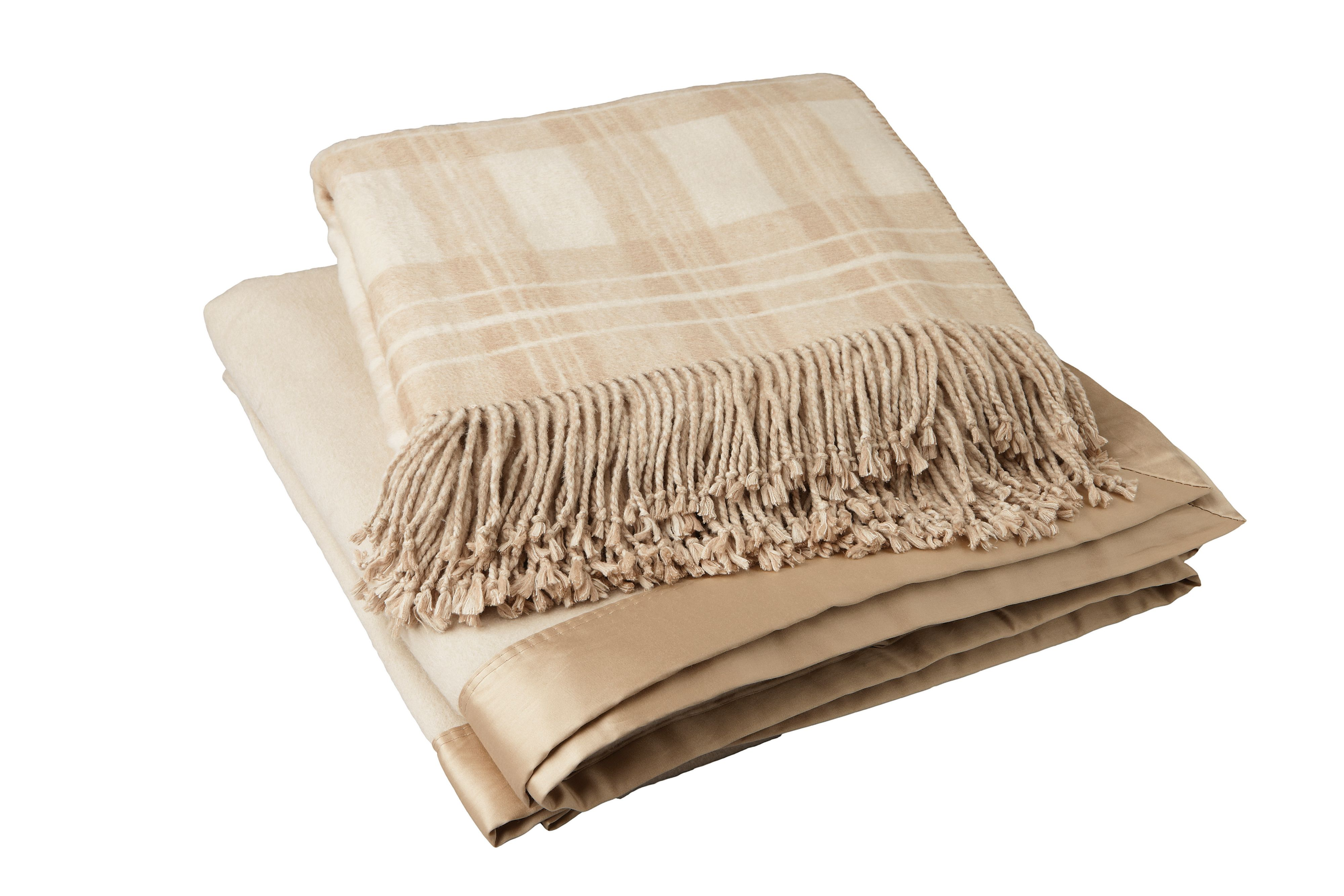 Oatmeal check silk throw