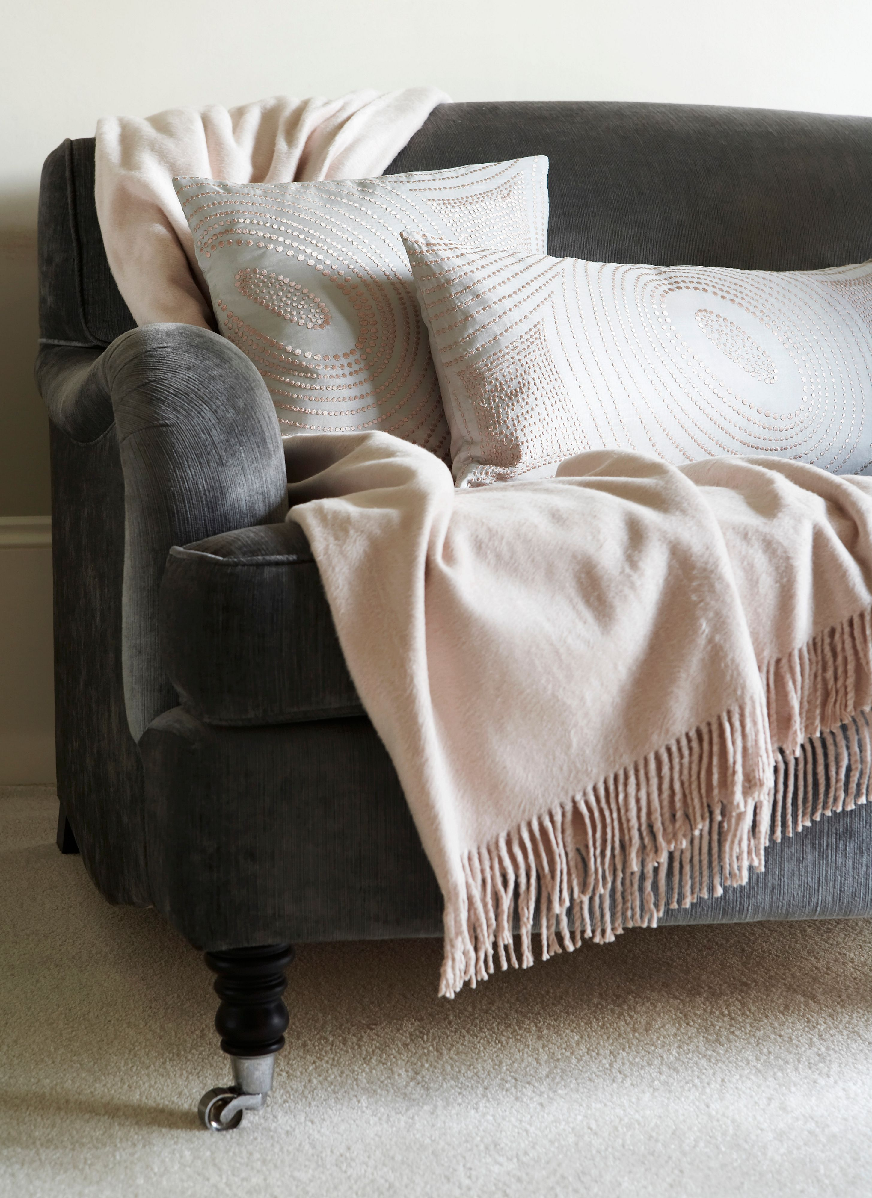 Ivory silk throw