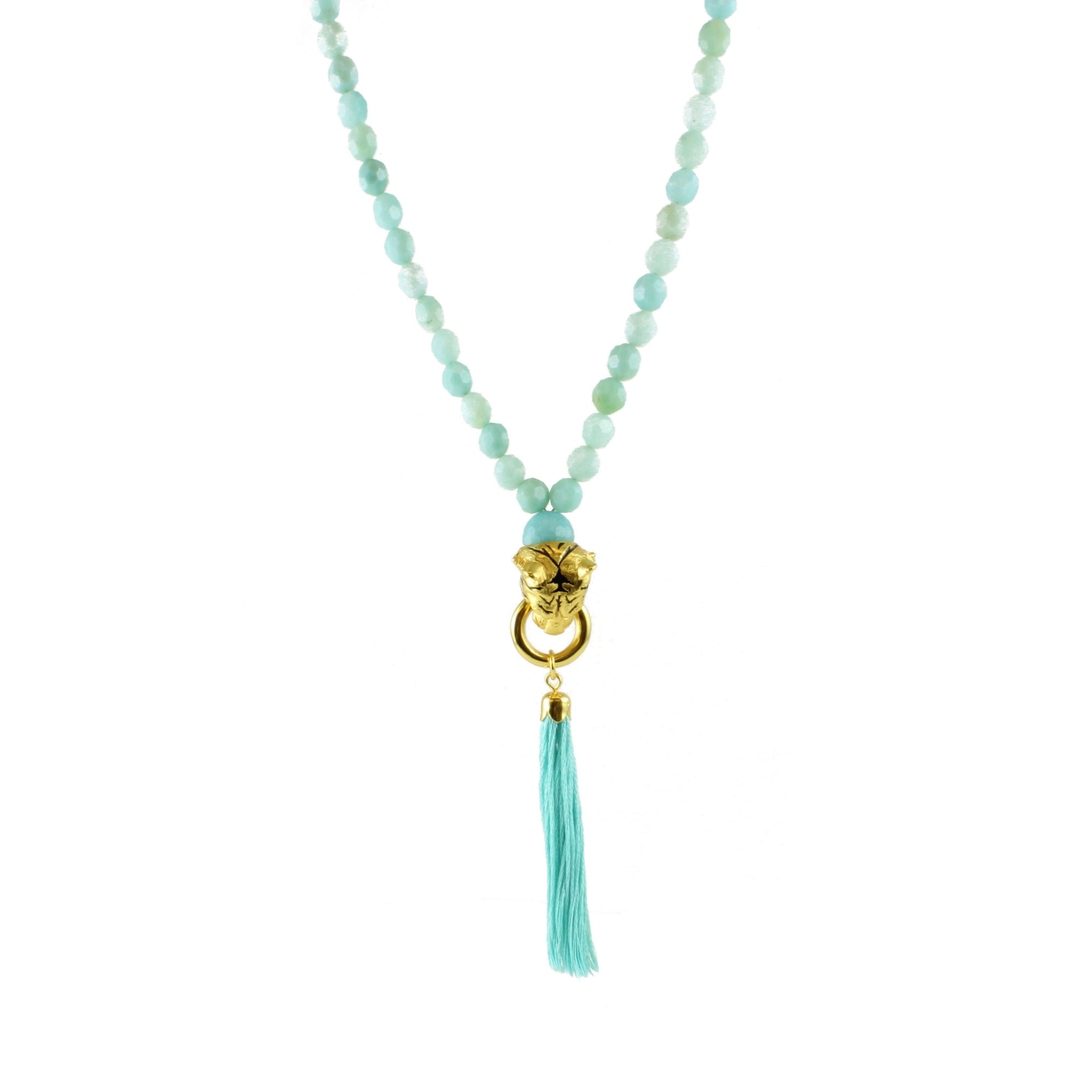 Amazonite Tiger Tassel Necklace