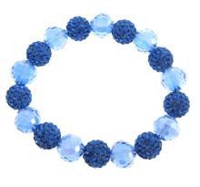 Blue bead and crystal ball bracelet