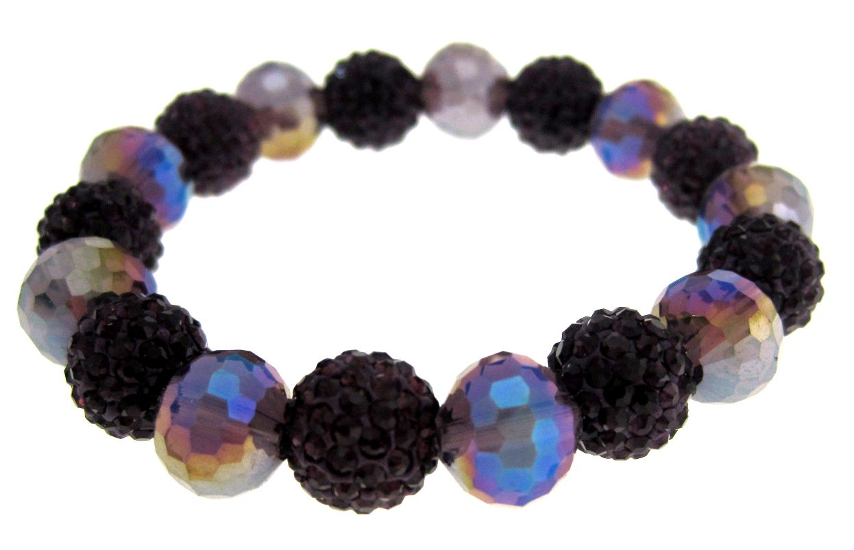 Violet bead and crystal ball bracelet