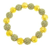 Light green bead and crystal ball bracelet