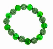 Green bead and crystal ball bracelet