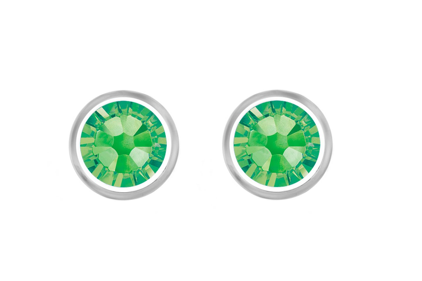 18ct White Gold Plated Peridot Studs