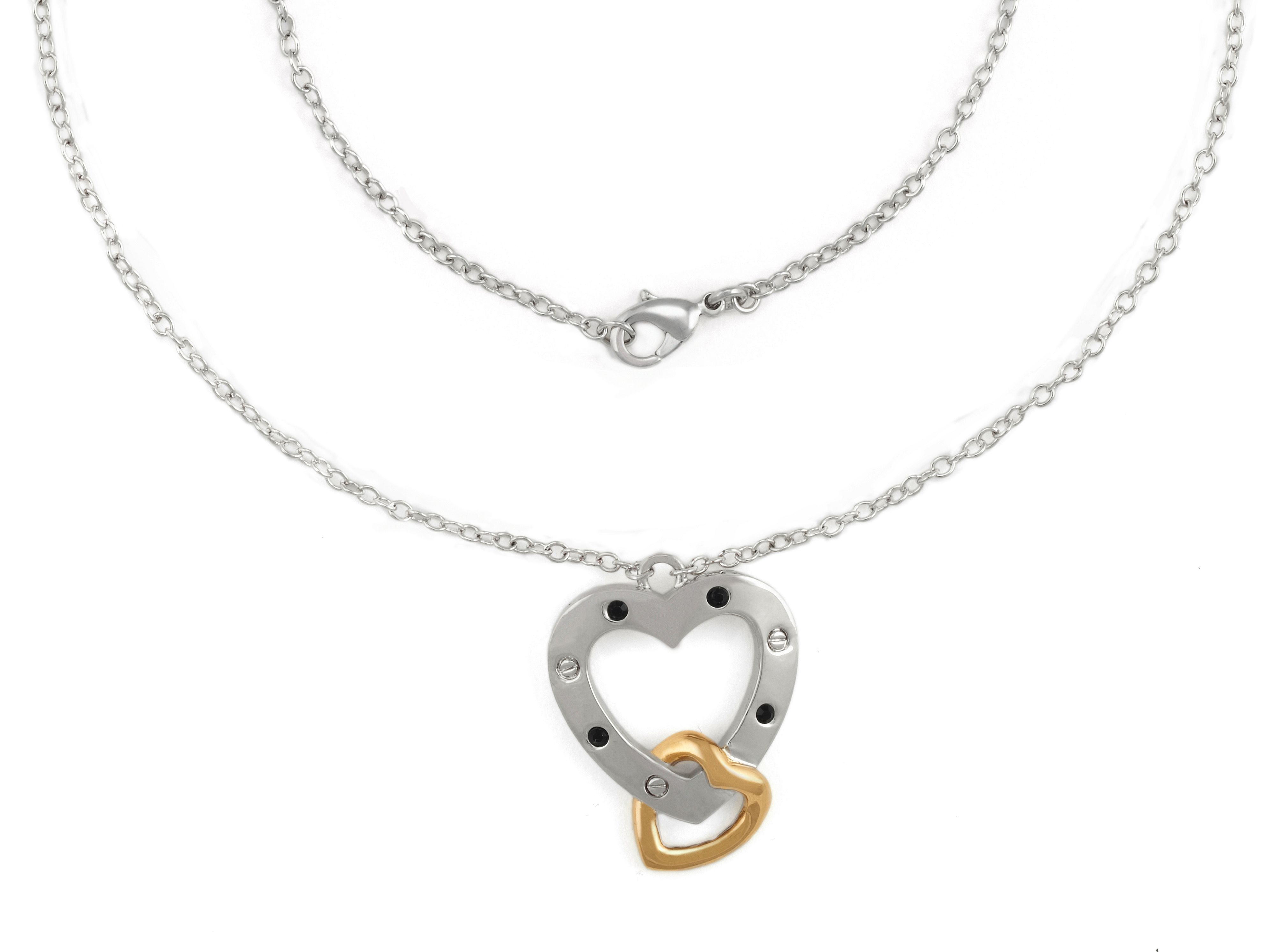 Yellow gold swarovski crystal heart pendant