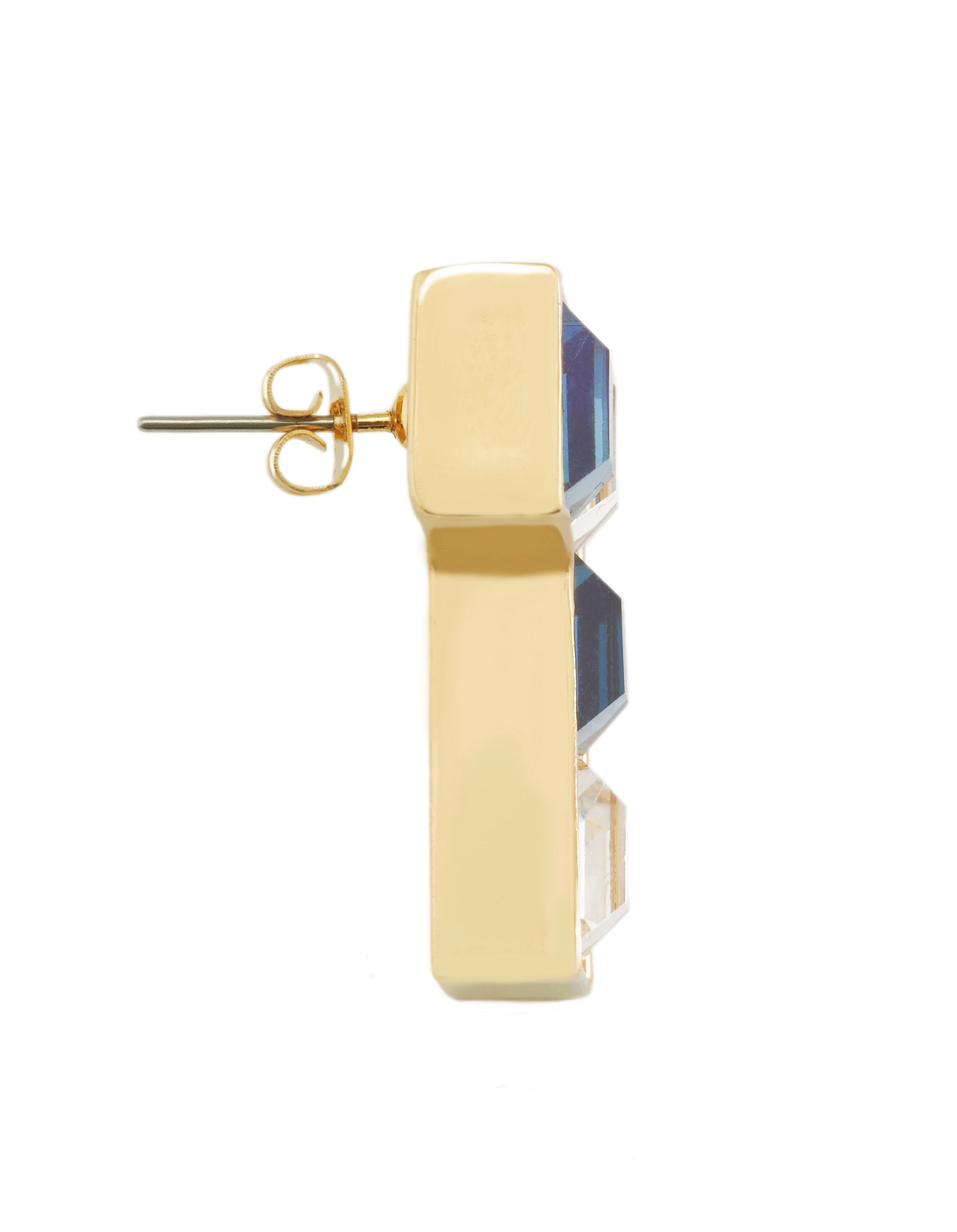 Yellow gold swarovski crystal tetris earrings