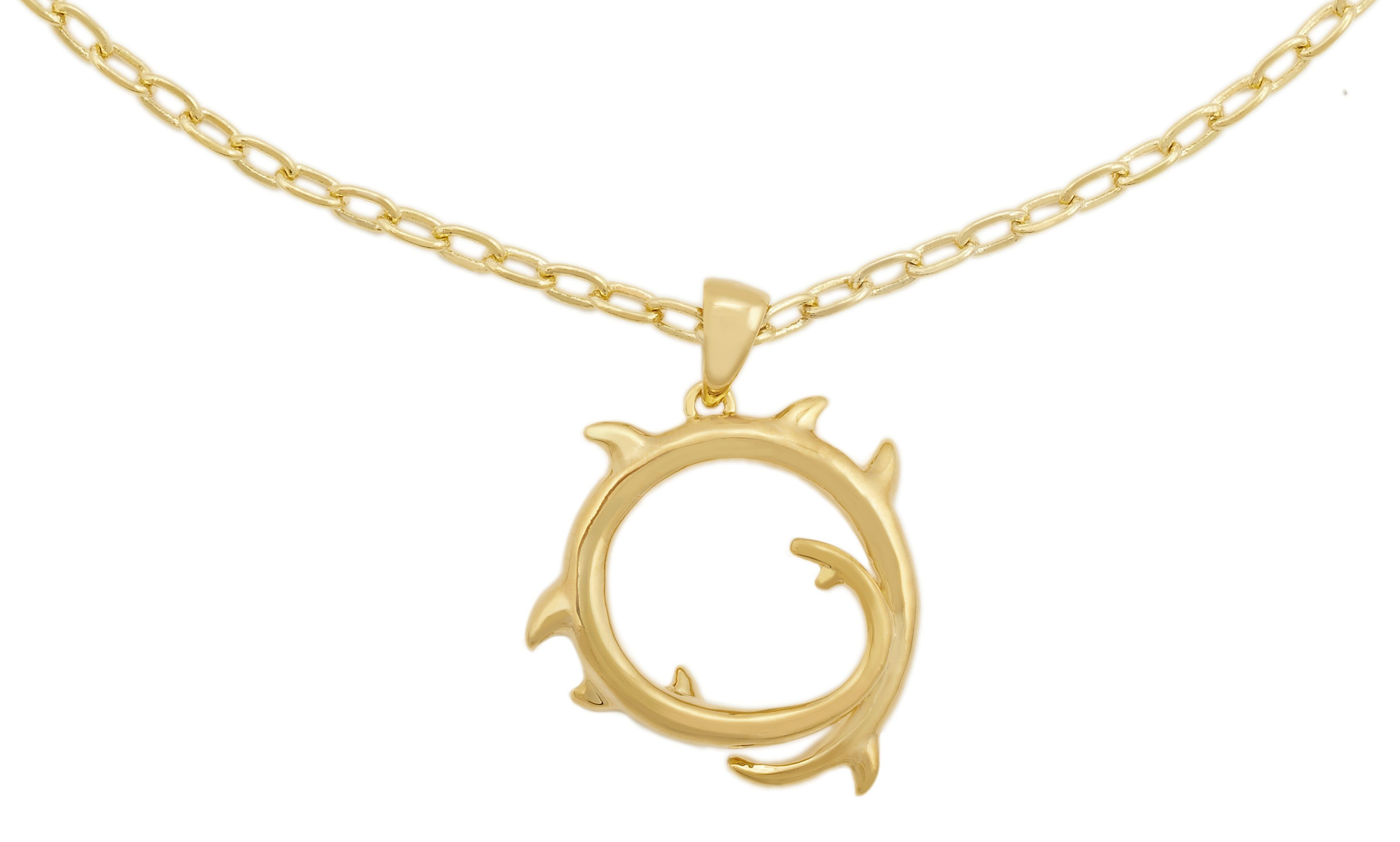 Yellow gold thorn pendant
