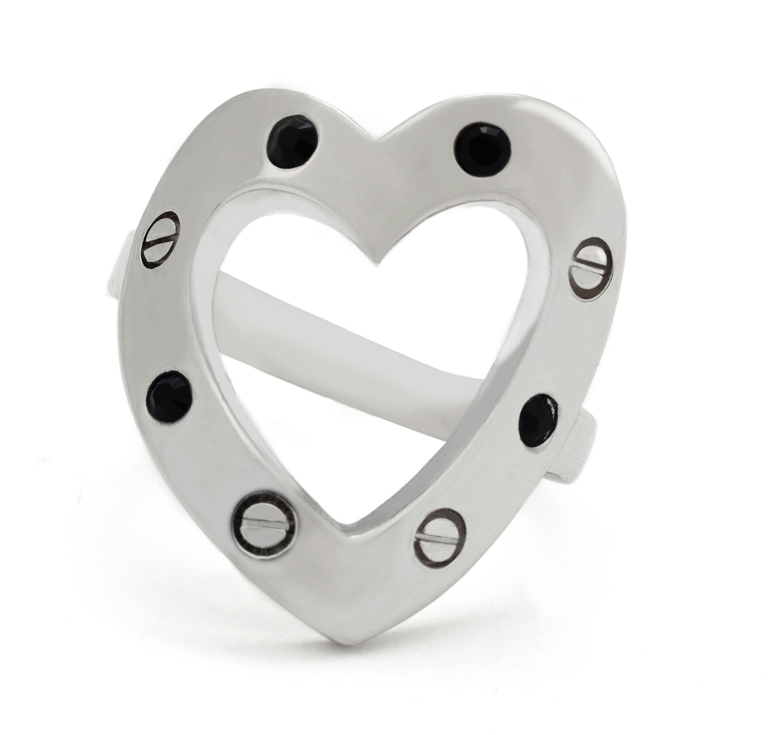 Rhodium crystal heart ring