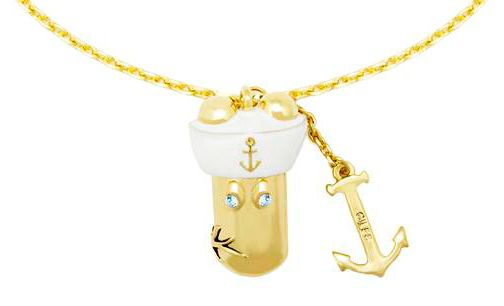 Gold swarovski crystal eek sailor necklace