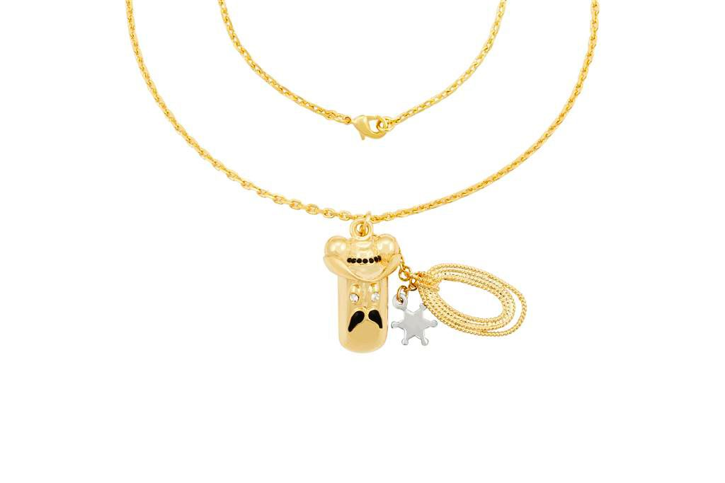 Gold swarovski crystal eek sheriff necklace