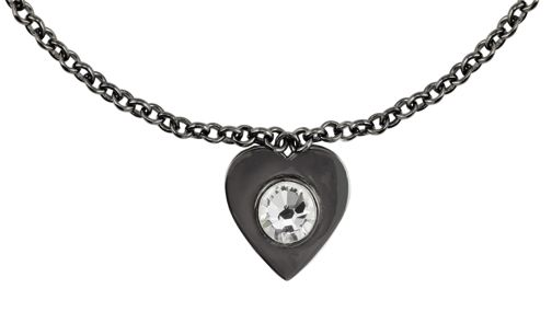 Black rhodium swarovski crystal heart pendant