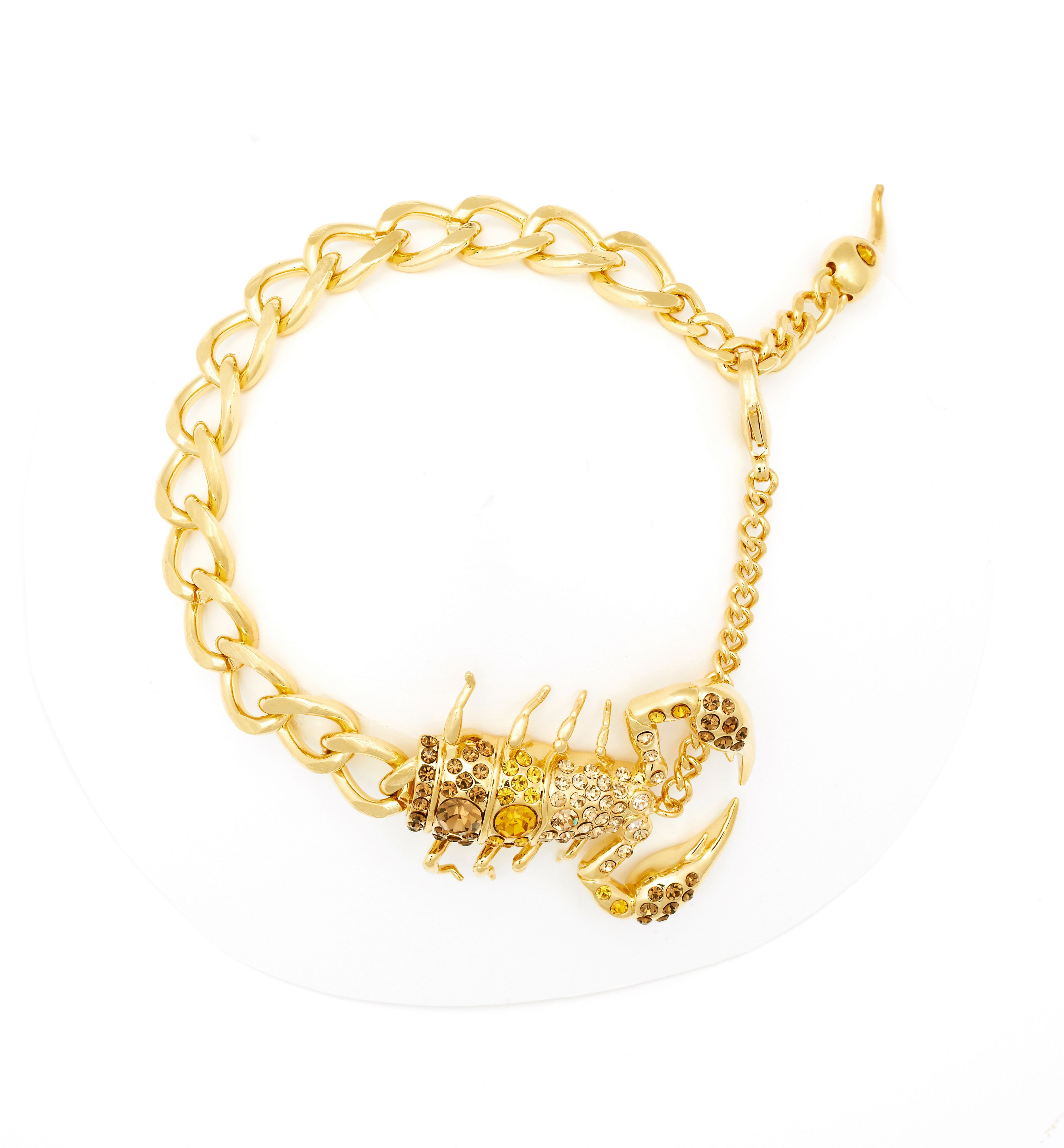 Yellow gold swarovski crystal scorpion bracelet