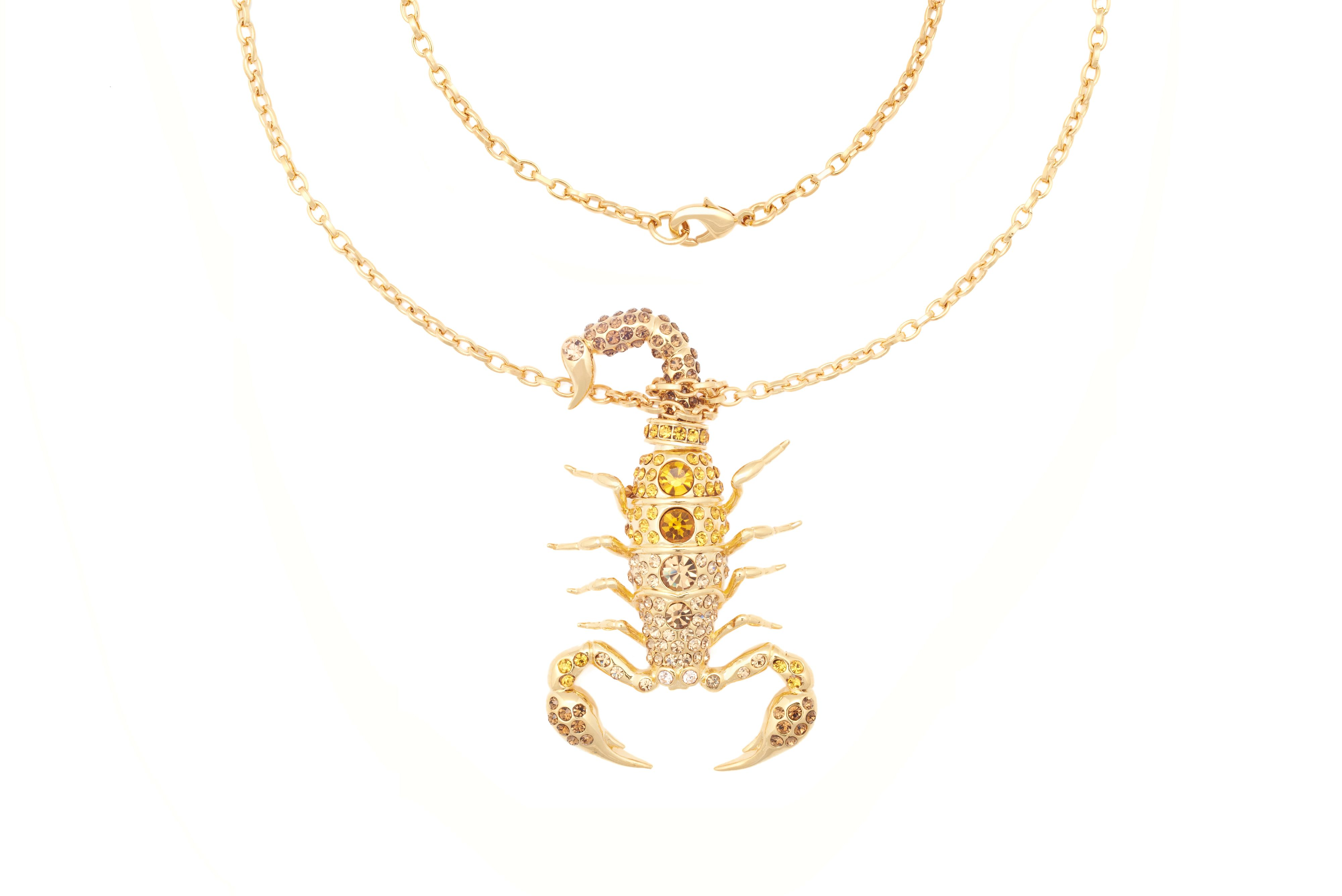 Yellow gold swarovski crystal scorpion pendant