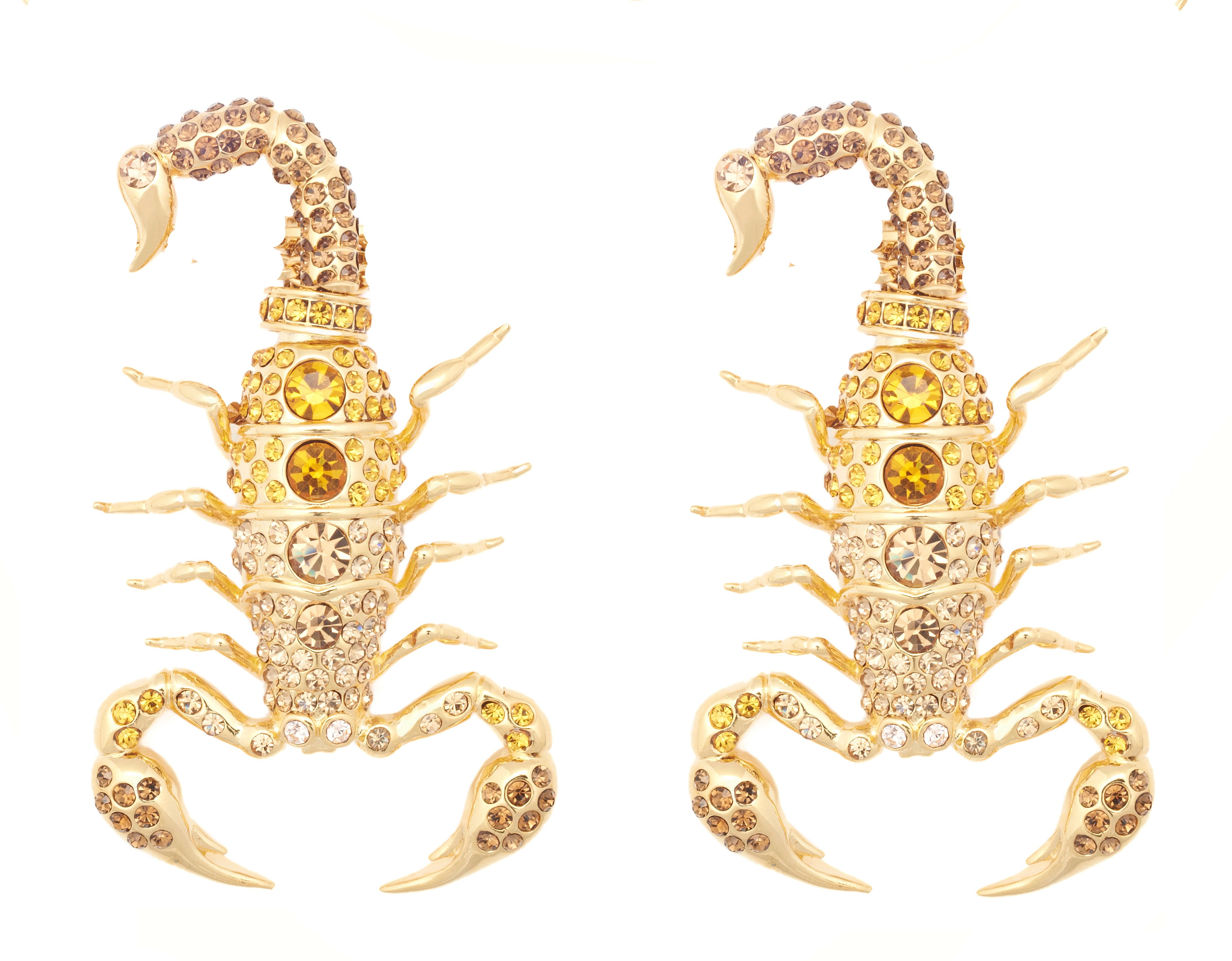 Yellow gold swarovski crystal scorpion earrings