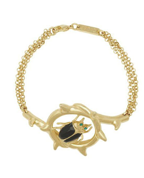 Yellow gold swarovski crystal beetle bracelet