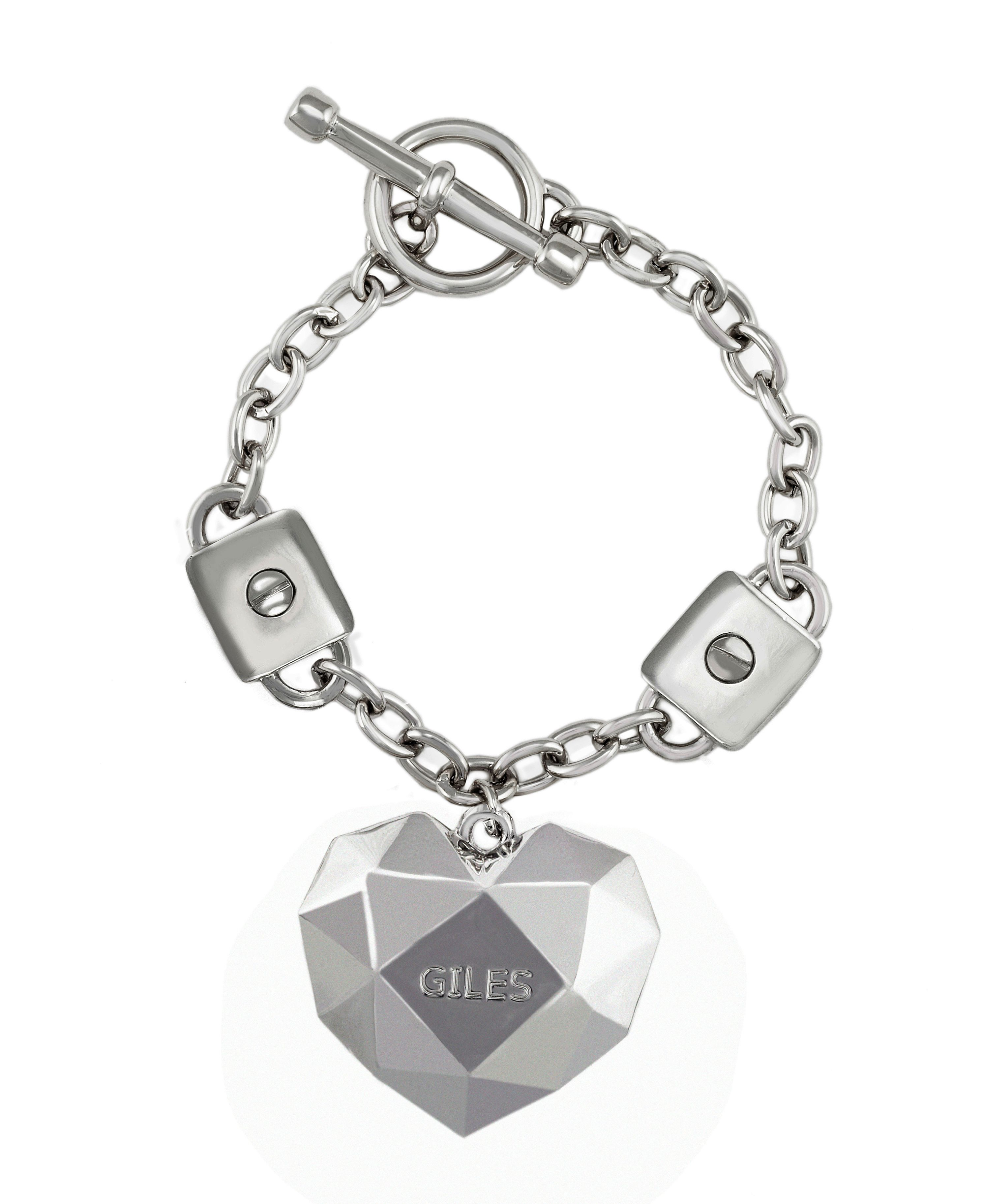 rhodium t-bar rock heart bracelet