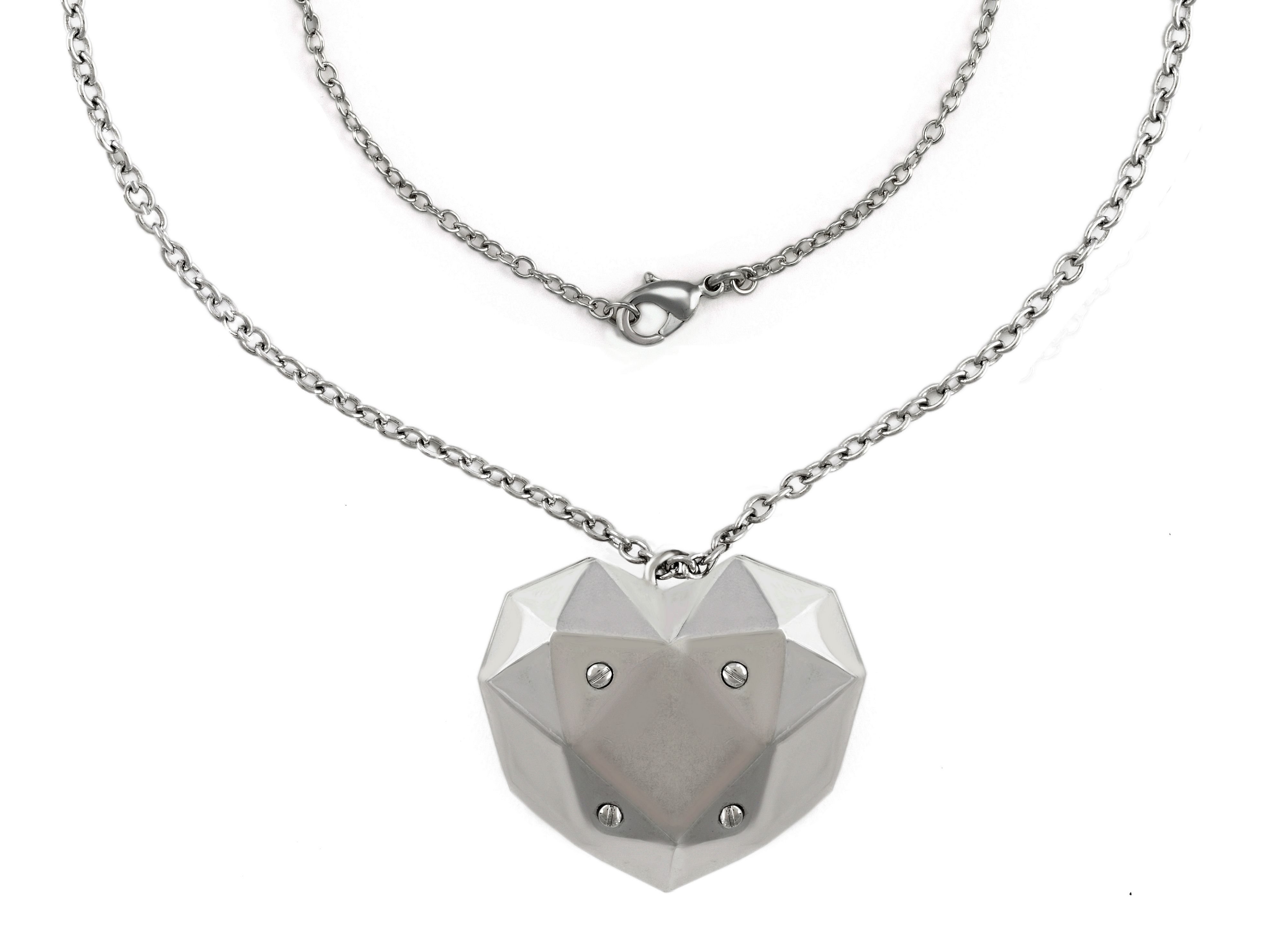 rhodium rock heart pendant