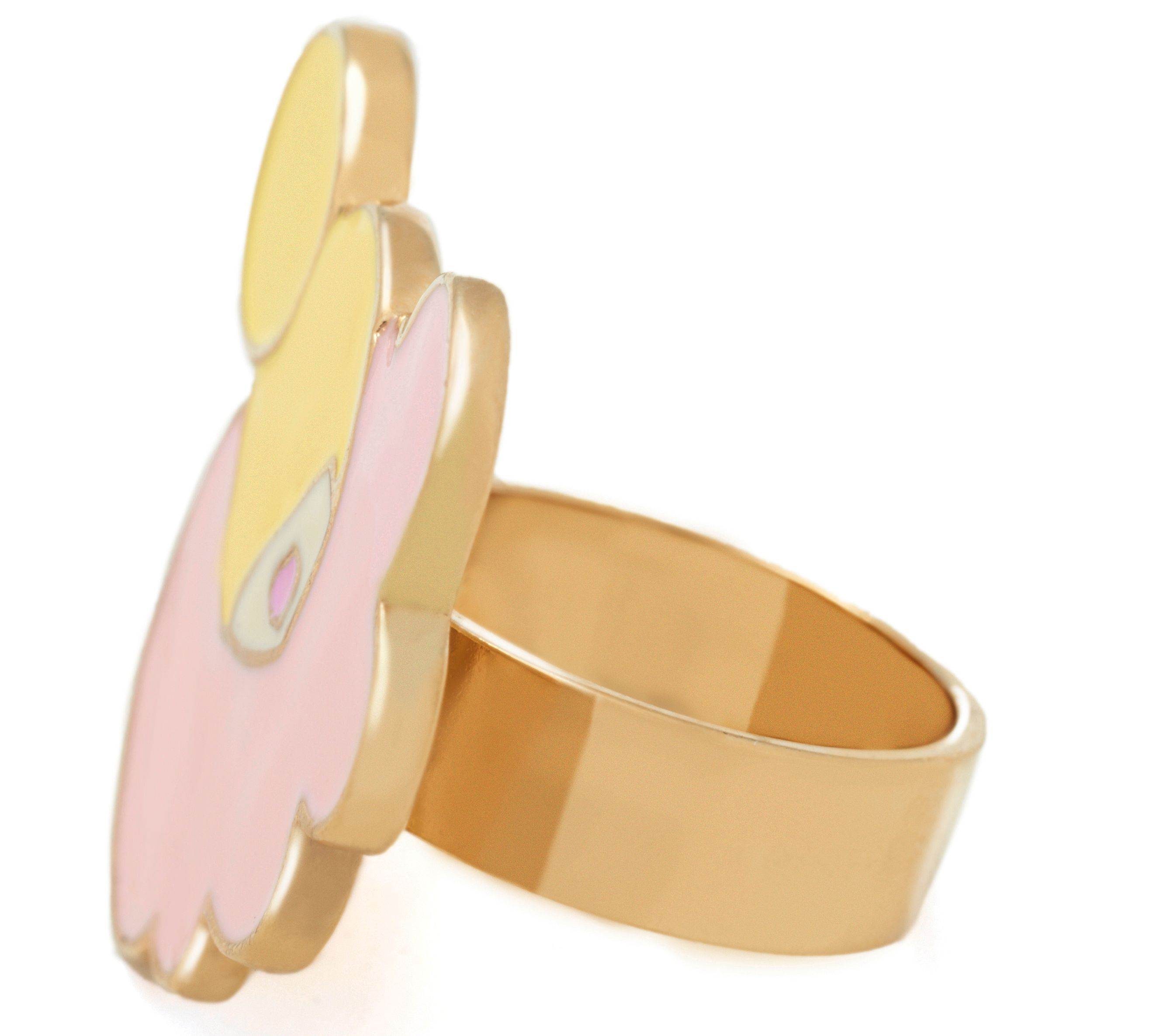Yellow gold enamel hair ring