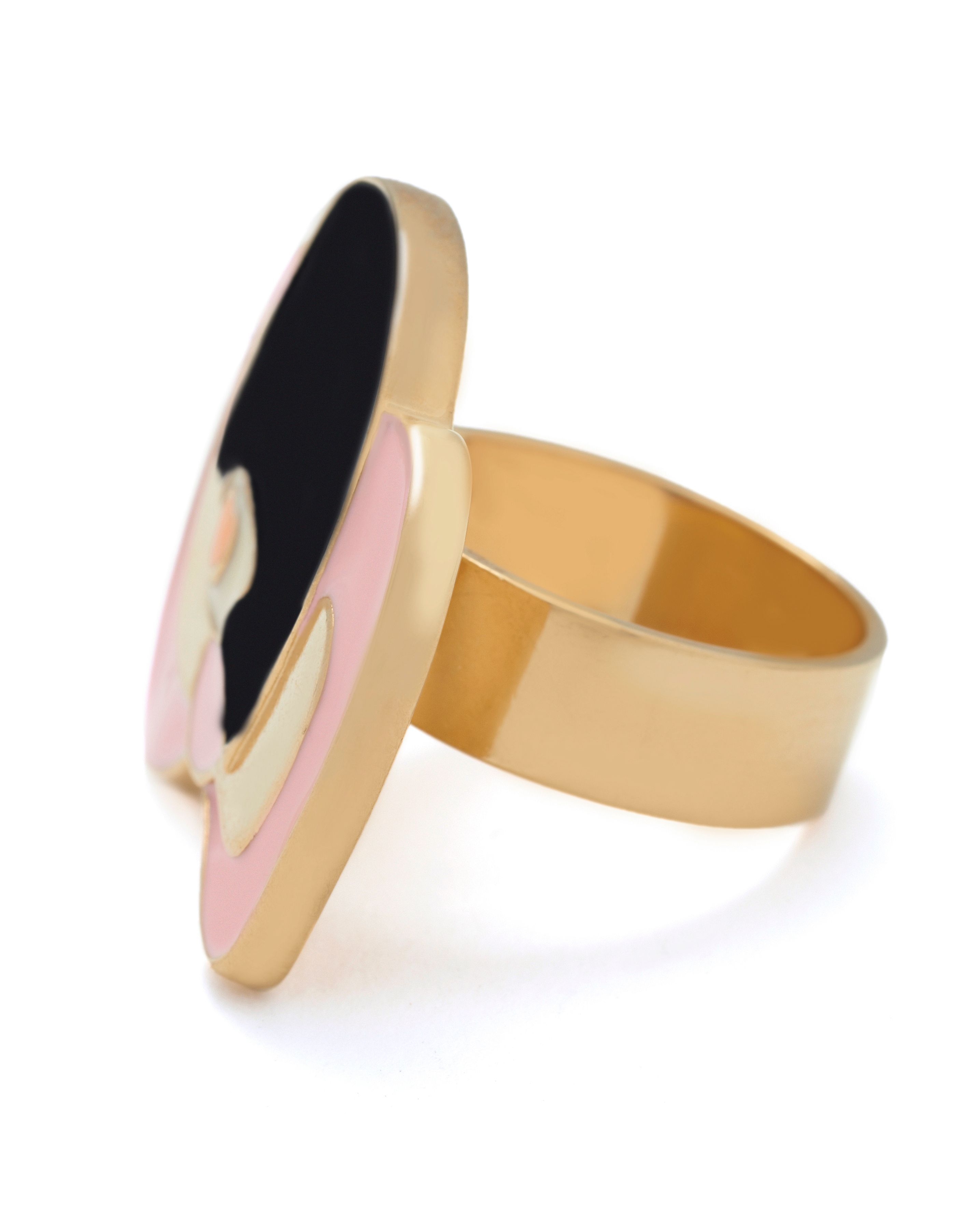 Yellow gold enamel bob hair ring