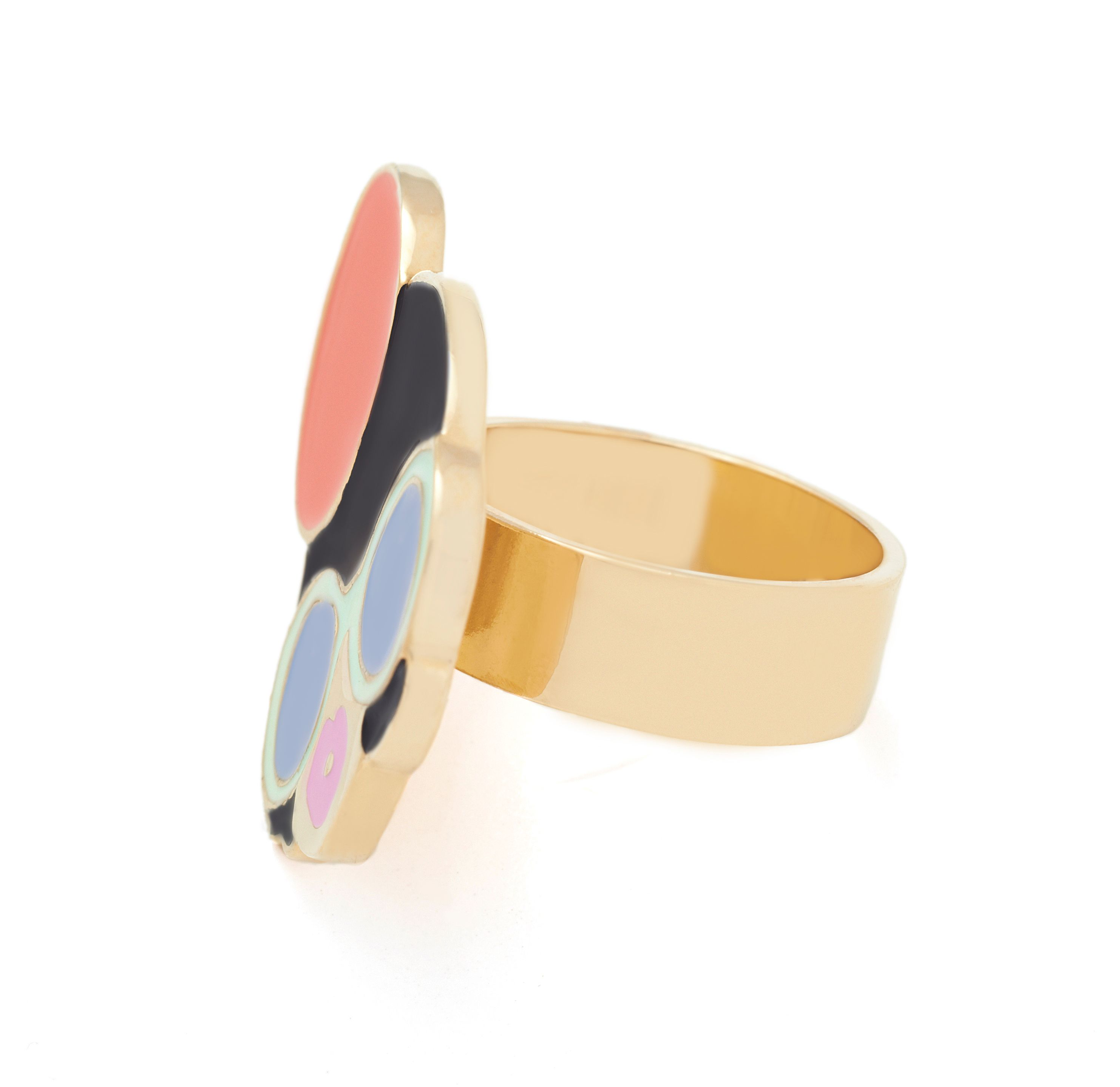 Yellow gold enamel hair lady ring