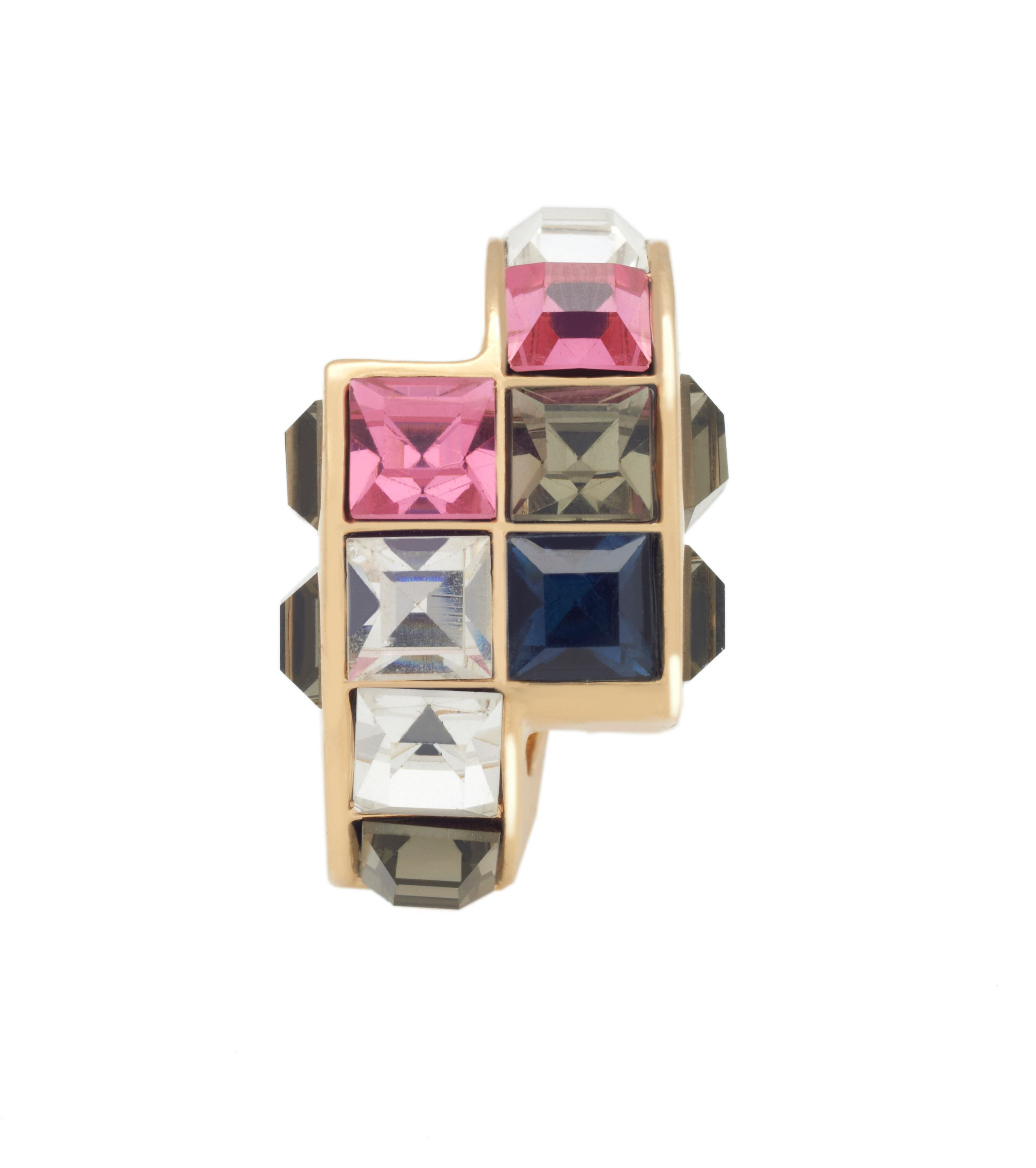 Yellow gold crystal tetris ring