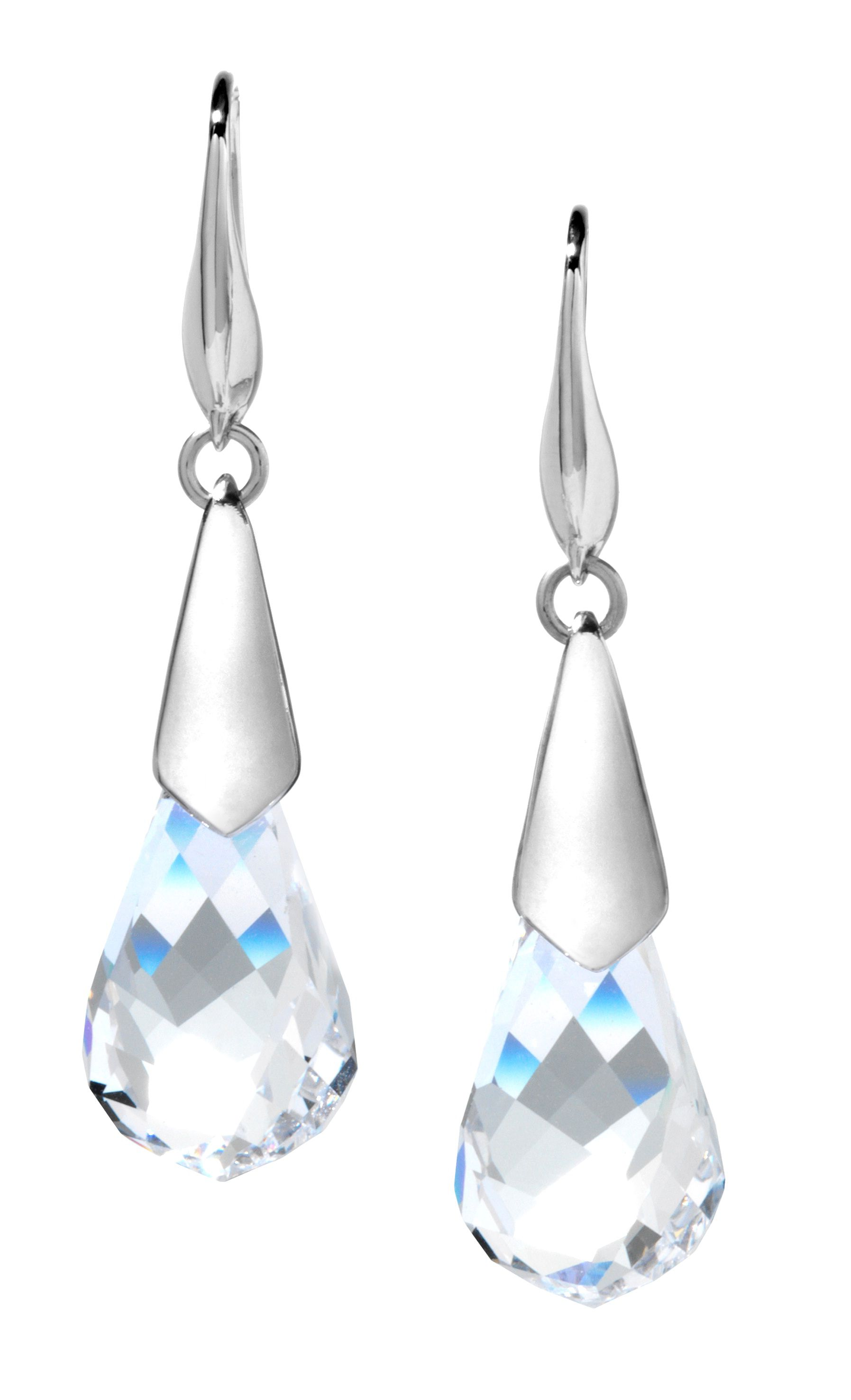 Swarovski 18Ct White Gold Twisted Crystal Earring