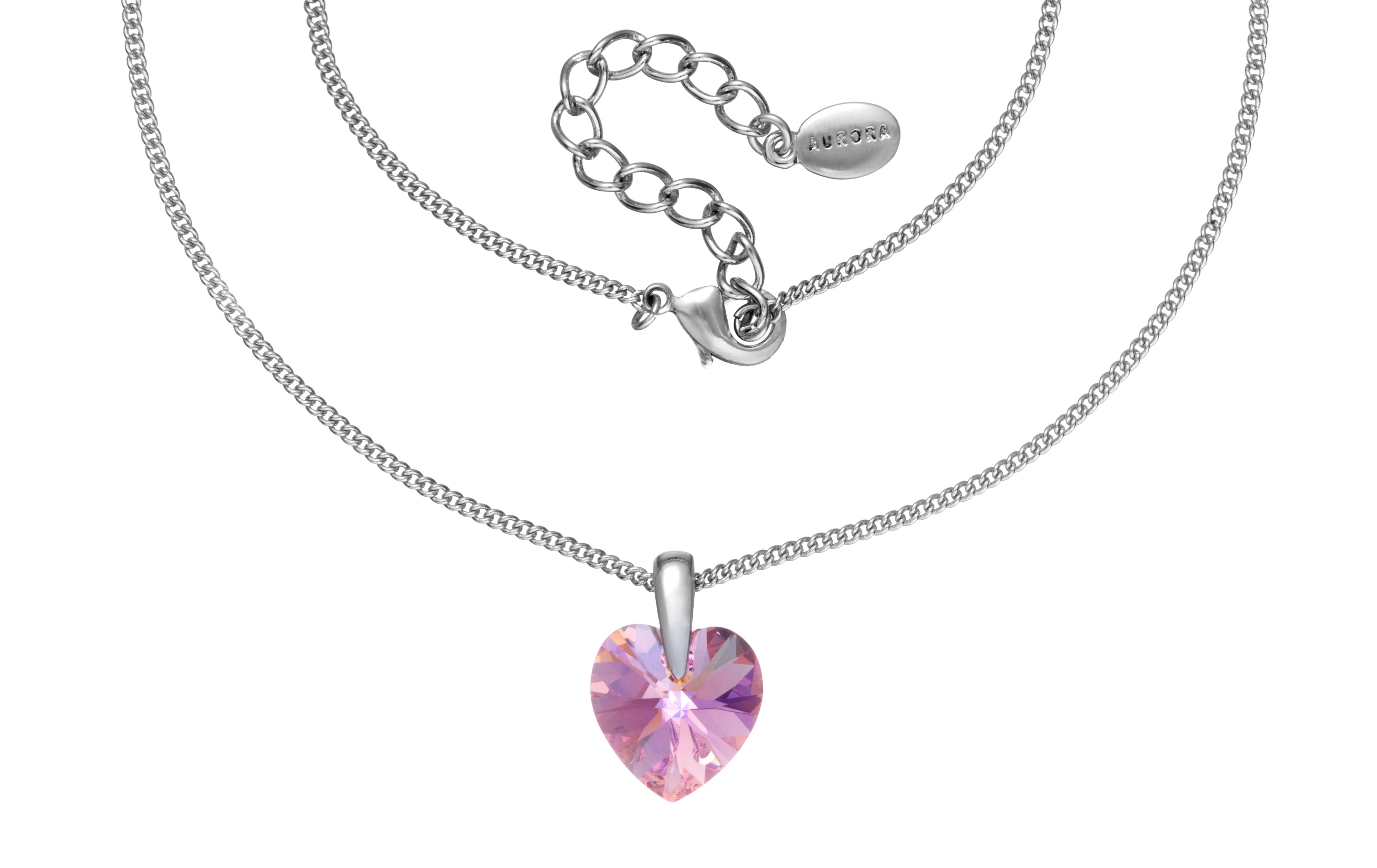 Swarovski 18Ct White Gold Pink Heart Pendant