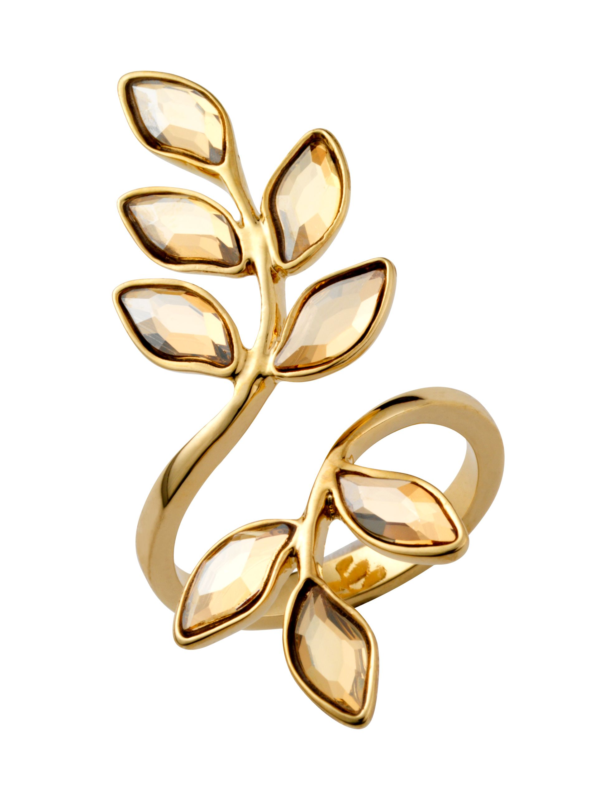 18ct gold plated leaf ring