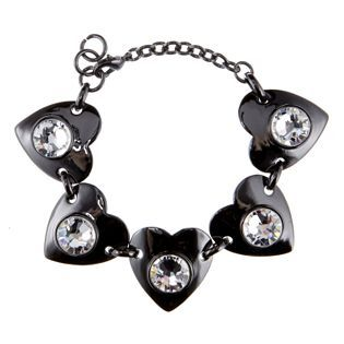 Black rhodium swarovski crystal heart bracelet
