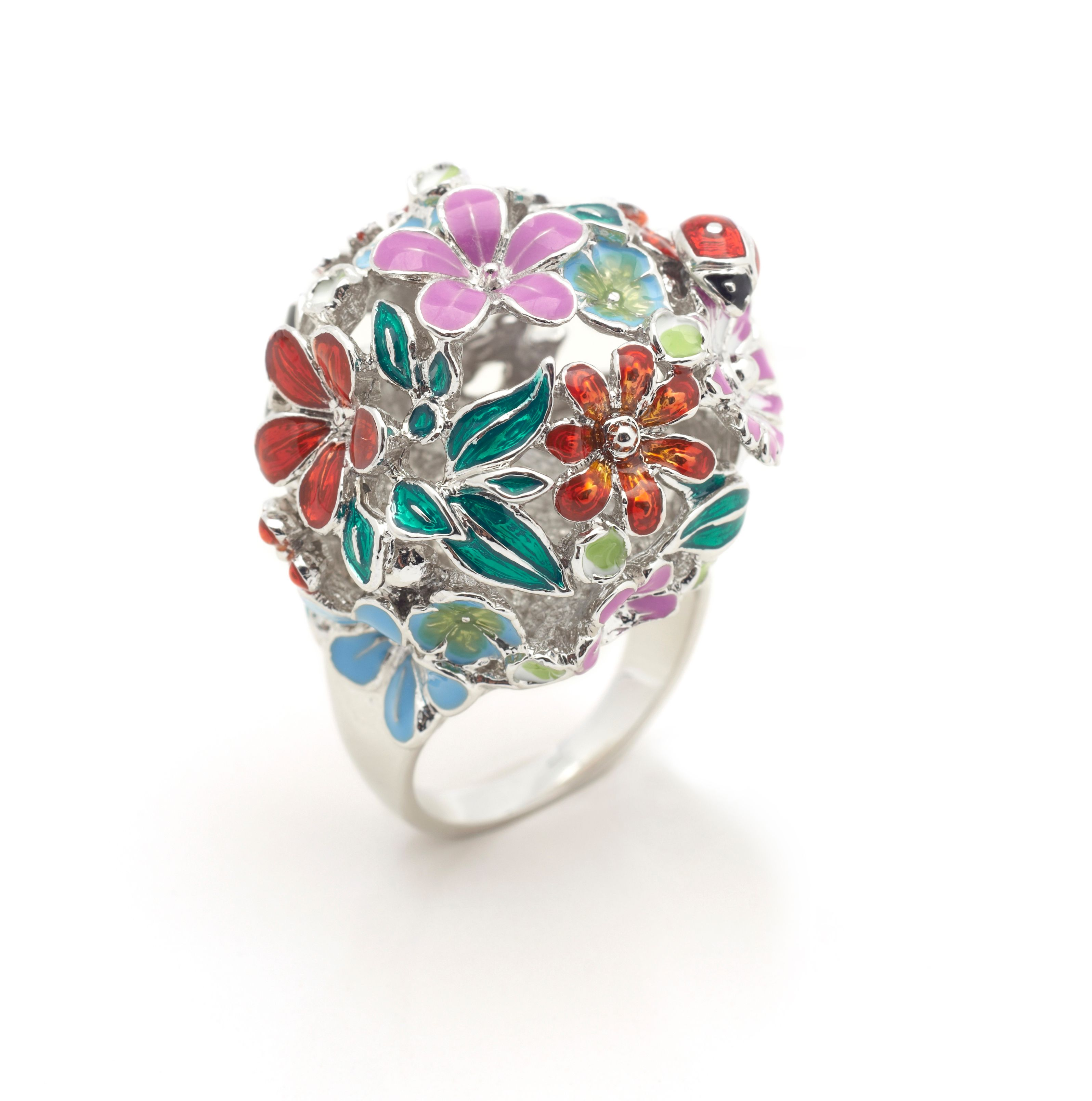 Floral orb ring rhodium