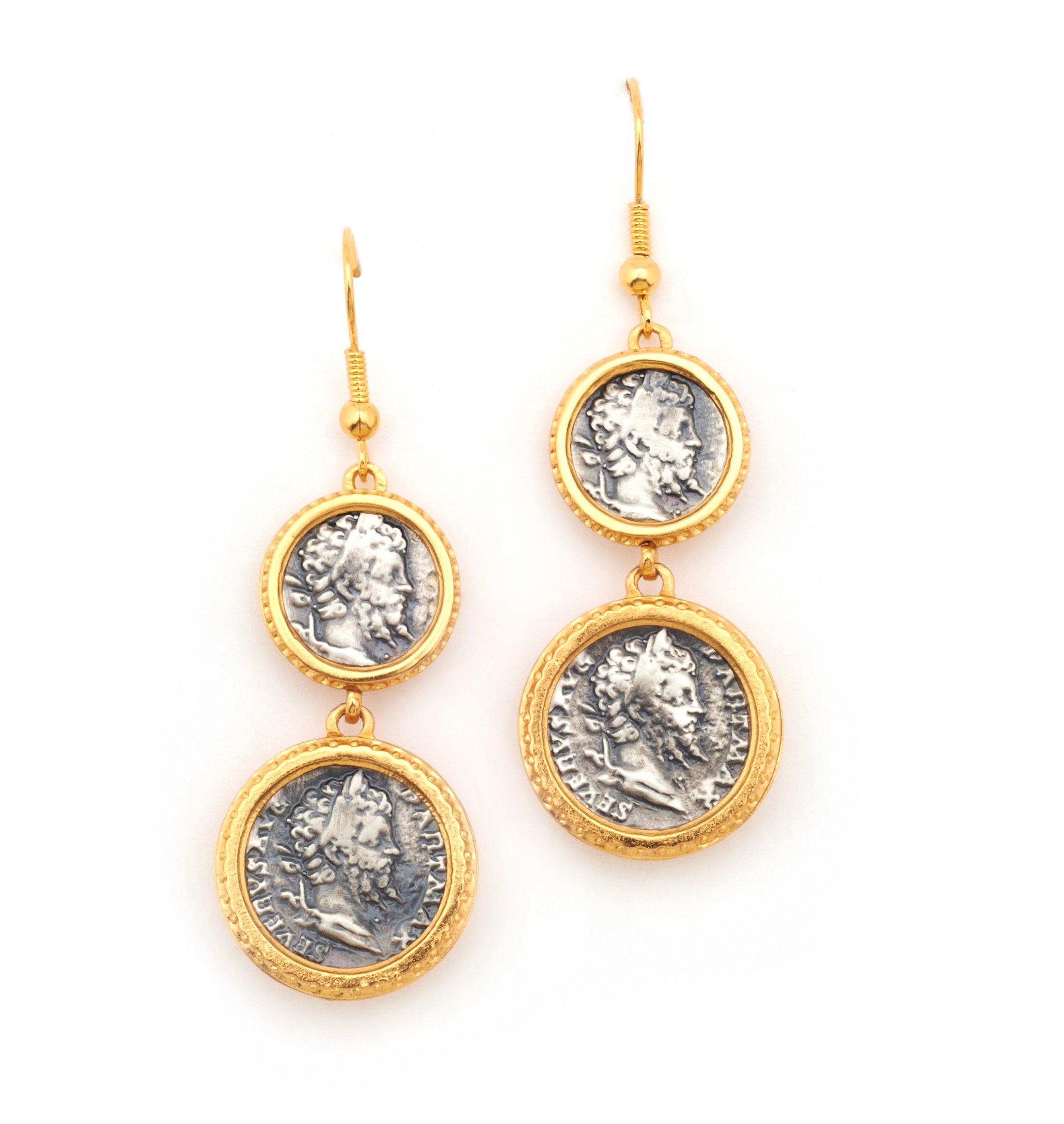 Emperor coin double drop earrings