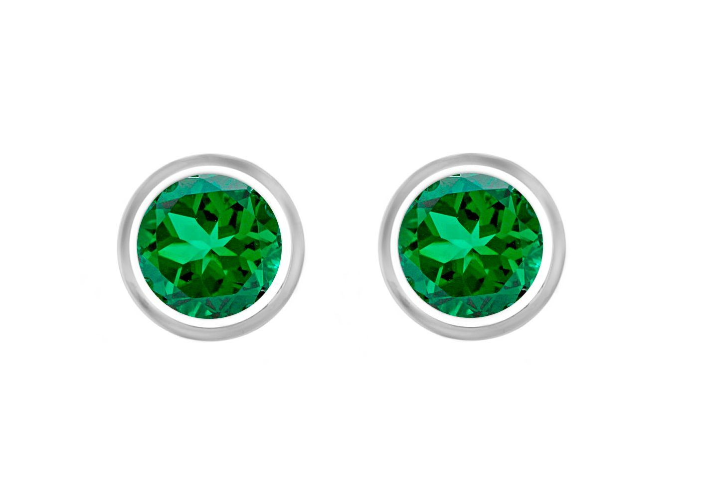 18ct Gold Plated Emerald Studs